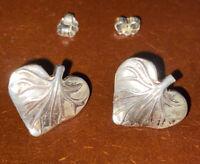 MMA 925 Sterling Silver - Vintage small leaf Pierced Earrings estate sale