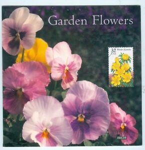 US 3025-29-32c booklet PANE OF 5 ISSUED 1996 WITH COVER GARDEN FLOWERS MNH