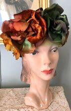 Gorgeous Vintage 1950's Schiaparelli Silk Satin Velvet Autumn Colors Floral Hat
