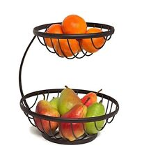 Steel Fruit Basket 2 Tier Bowl Server Holder Vegetable Stand Rack Kitchen Decor