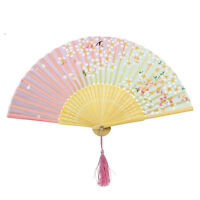 Japanese Chinese Bamboo Lace Cherry Blossom Folding Hand Fan Wedding Party M&O