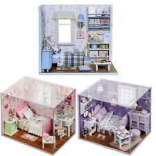 DIY Miniature Wooden Doll House LED Light Handicraft Puzzle Toy Kit Xmas Gift