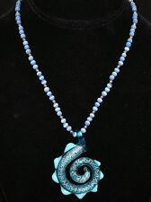 Aqua Blue Glass Curl w/ Silver Speckles & Triangular Points Pendant & Blue Beads