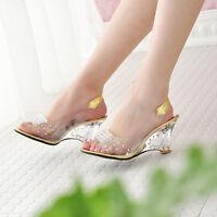Elegant Women Heart Kitten Heels Slingbacks Open Toe Rivet Lady Clear Sandals SZ