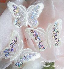 3 White Hologram Sequin Butterfly Applique Iron On Patch Bridal dress Embroider