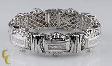 14k Oro Blanco Grande Placa Brazalete Diamante patron = 18 quilates,24.8cm Largo