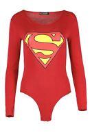Womens Batman Superman Ladies Bodysuit Leotard Plain Stretchy TShirt Top UK 8-22