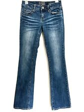Refuge Womens 2R Jeans Boot Medium Wash Runway Everyday Blue Denim Whiskers