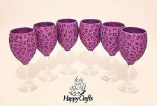 Glitter Top Animal Leopard Print Wine Glasses Set of 6 Lilac & Cadbury Purple