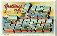 Large Letter Linen Postcard ~ Greetings from Lake George New York ~ Adirondacks