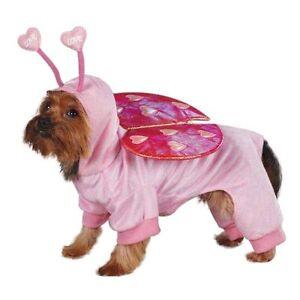 LOVE BUG Dog Costume Pink Full-Body Bright Foil Wings Hood w/ Antennae CUTE