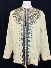 Vintage 1950's New Cashmere Beaded Cardigan Sweater. Mint. Size 14. Women's.