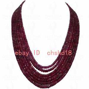 7 Rows Of Madagascar Ruby Gemstone Faceted Beads Necklace plating silver Clasp