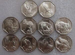 Peru Set of 10 coins 1 sol Fauna of Peru. Endangered wildlife of Peru UNC