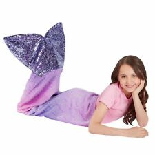 Mermaid Tail Plush and Playful Character Throw Blanket Purple Fishtail