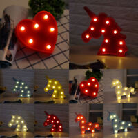 Cute Unicorn Haad Red Heart LED Night Light Lamp Baby Kids Bedroom Home Decor