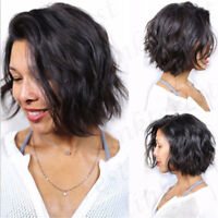 100% Remy Human Hair Short BOB Wavy Straight Lace Front Wig With Baby Hair Wigsg