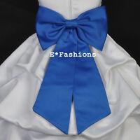 ROYAL BLUE TIE BOW SASH FOR WEDDING FLOWER GIRL DRESS sz S M L 2 4 6 8 10 12 14