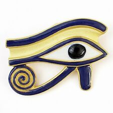 "Egyptian Eye of Horus Brooch Pendant Gold Plated  & 18"" Leather Cord"