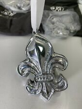 4 Beatriz Ball Fleur De Lis Ornaments Metalware Silver Polished Metal New