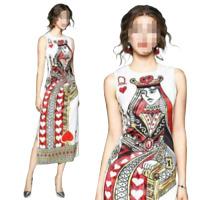 Womens New Poker Queen Print Dress Round Neck Waist Sleeveless Dress 2020