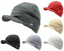 Unisex Winter Visor Beanie Knit Hat Cap Cold Weather Lined Crochet Men Women NY