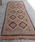 4'7 x 14'11 ft Handmade vintage afghan herat maldari wool large kilim runner rug