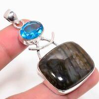 "Nice Labradorite, Blue Topaz Handmade Ethnic Style Jewelry Pendant 1.97"""