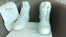 New BALMAIN $1180 White Leather High Top Sneakers 100% Authentic US 9 EUR 42