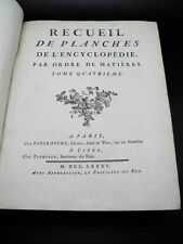 ENCYCLOPEDIE METHODIQUE PANCKOUCKE 297 PLANCHES Tennis Tabac ARTS & METIERS 1785
