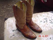 Justin Mens Size 9 B Orange Ostrich Cowboy Boots Irregular