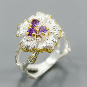 Handmade Amethyst Ring Silver 925 Sterling  Size 6.5 /R159832