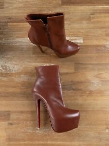 $1445 CHRISTIAN LOUBOUTIN Daf Booty 160 chestnut leather ankle boots 7.5 / 37.5