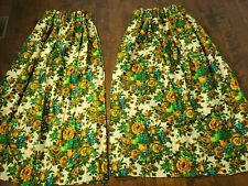 Vintage 1960's Pinch Pleated Floral Curtain Set 2 Panels