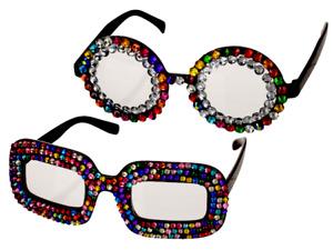 Elton John Glasses Sunglasses Rocket Man Fancy Dress Specs Diamantes ROUND