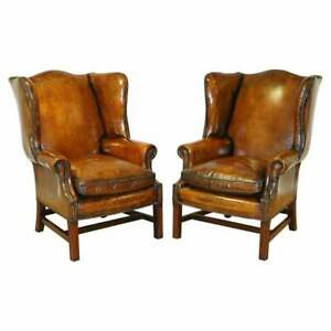 RESTORED VINTAGE PAIR HAND DYED GEORGE STYLE WINGBACK CHAIRS FEATHER FILL