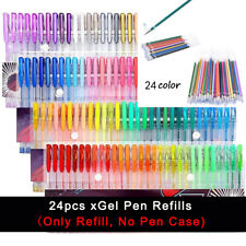 24Pcs Colorful Gel Pens Refill Water Color Refill Set Stationery School Art Tool