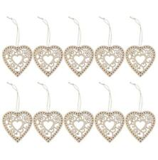 10pcs Laser Cut Plain Flower Wood DIY Craft Heart Tags with String Wholesale