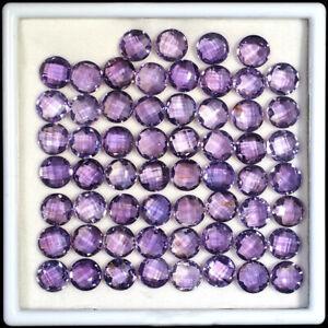 VVS 60 Pcs Natural Amethyst 9mm Round Checker Cut Rich Purple Top Quality Gems