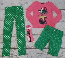 GAP KIDS Pink Puppy Tee, Green Polka Dot Leggings, Shorts 8 VGUC