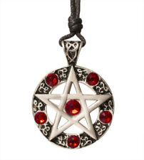 Pentagram 5 Pointed Star Silver Pewter Charm Crystal Necklace Pendant Jewelry