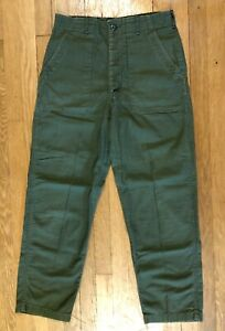 70s Cold War Era US Army OG 107 Green Sateen Utility Trousers Button Fly 34X31