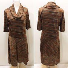 ROBBIE BEE  L Dress Orange Brown Stripe Knit Midi Fit Flare Cowl Neckline 12 14