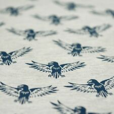 Grey Marl Stretch Loopback Jersey Fabric with Navy Blue Falcon Bird Print, Per M