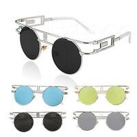 Mens Women Retro Fashion Round Metal Frame Sunglasses Mirrored Lens Glasses