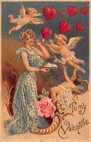 Valentine Postcard Woman Blowing Heart Bubbles to Cupid Cherub Angel~120133