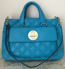 NWT Kate Spade astor court blue turquoise leather tote satchel purse bag $428