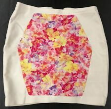 tokito white floral back zip lined skirt   10