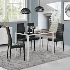 [en.casa] à manger + 4 chaises Noir/blanc Table de cuisine salle à verre