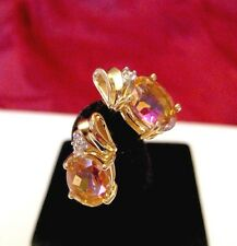 10K YELLOW GOLD OVAL MYSTIC TOPAZ WITH DIAMONDS STUDS EARRINGS 2.8 GRAMS